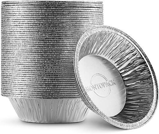 MontoPack 一次性 5 英寸(约 12.7 厘米)铝箔馅饼/平底锅(50 个装)  5 英寸(约 12.7 厘米)圆形蛋糕平底锅,适用于烘焙个人迷你馅饼、自制蛋糕和食材   烤箱安全铝箔罐可轻松堆叠和储存、冷冻和重新加热