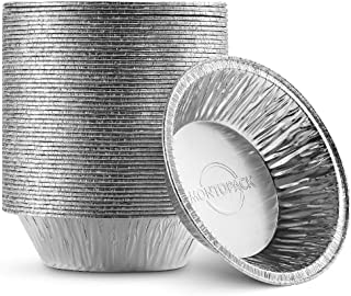 "MontoPack Disposable 5"" Aluminum Foil Pie/Tart Pan (50 Pack) | 5 Inch Round Cake Pan for Baking Personal Mini Pies, Homema..."