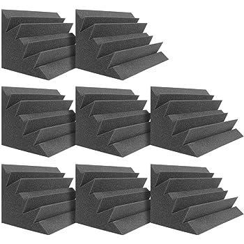 "DEKIRU Acoustic Panels Bass Traps Corner Studio Foam, 8 Pack 12"" X 7"" X 7"" Sound Proof Panels Noise Dampening Wall Soundproofing Padding, Ideal for Studio or Home Theater Corner Sound Treatment"