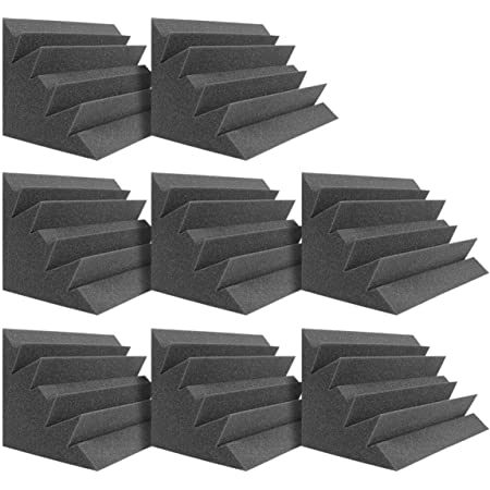 "DEKIRU Acoustic Panels Bass Traps Corner Studio Foam, 8 Pack 12"" X 7"" X 7"" Sound Proof Panels Noise Dampening Wall Soundproofing Padding, Ideal for Studio or Home Theater Corner Sound Treatment"