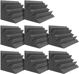 "DEKIRU Acoustic Panels Bass Traps Corner Studio Foam, 8 Pack 12"" X 7"" X 7"" Sound Proof Panels Noise Dampening Wall Soundpr..."
