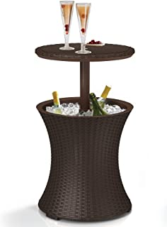 Keter Pacific Cool Bar Outdoor Patio Furniture and Hot Tub Side Table with 7.5 Gallon Beer and Wine Cooler, Espresso Brown