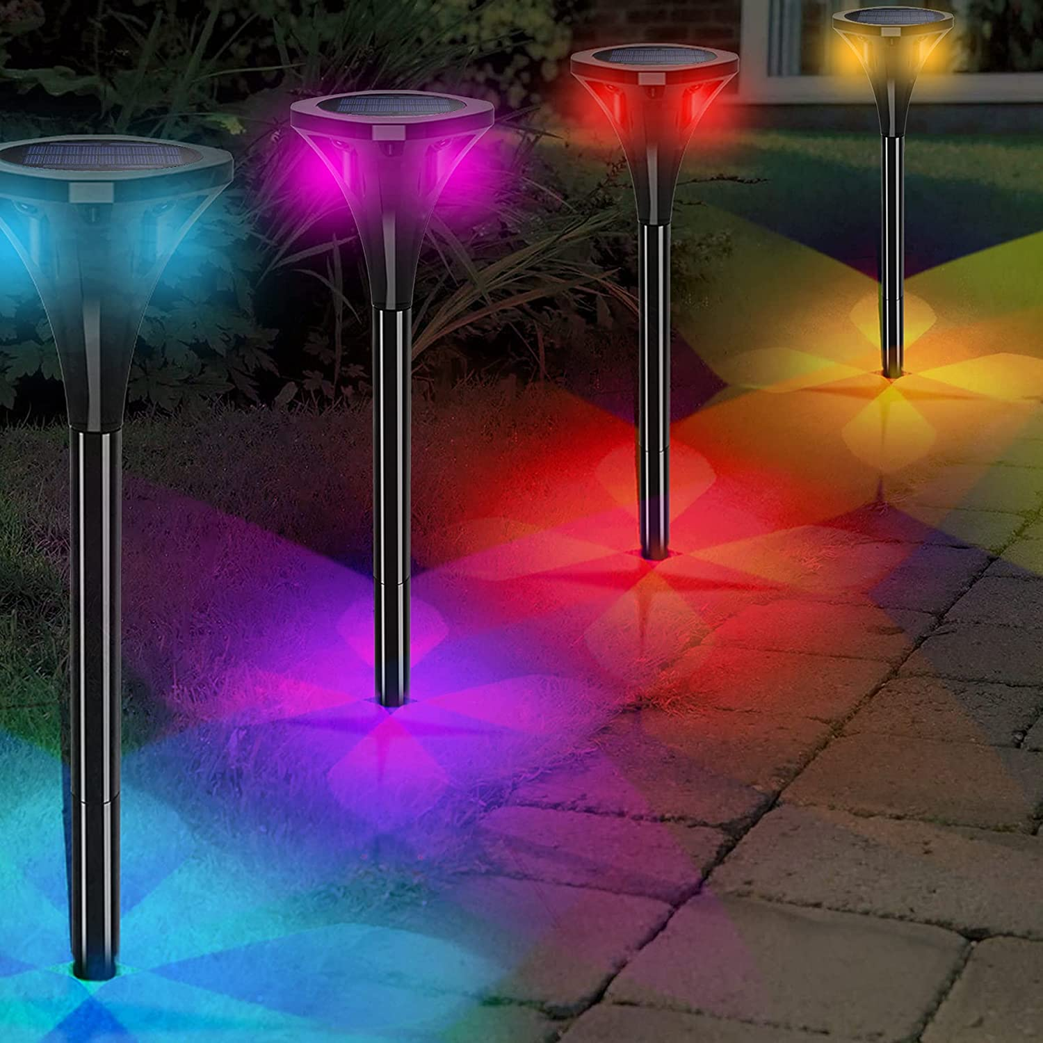 T-SUNUS Solar Path Lights 4 Pack Color Changing Solar Pathway Lights Landscape Path Lights RGB Solar Stake Lights for Garden Driveway Lawn Decorations