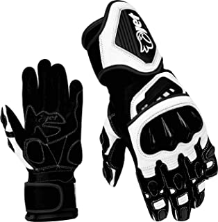 JET Motorcycle Gloves Premium Full Leather Gauntlet Race Hard Knuckle Gloves (Small, Black/White)
