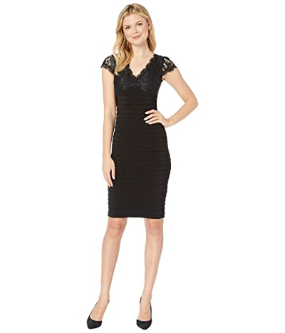 Adrianna Papell Lace Top Banded Sheath Dress (Black) Women