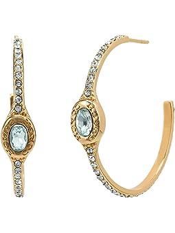 코치 귀걸이 COACH Signature Logo Pave Hoop Earrings,Light Blue/Crystal