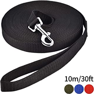 PETTOM Dog Training Leash Obedience Recall Agility Lead Puppy Black 30ft 50ft 65ft Great for Play Camping Beach Backyard