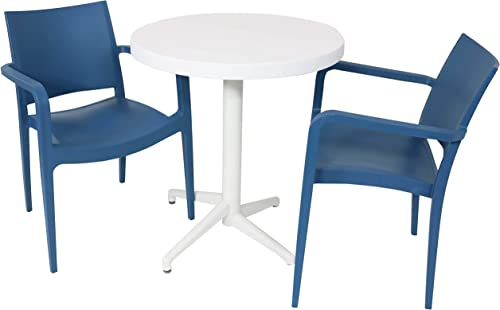 discount Sunnydaze All-Weather Landon Outdoor 3-Piece Patio Furniture Dining Set high quality - Includes Round Table with Folding Top and 2 Armchairs - 2021 Commercial Grade Indoor/Outdoor Use - Sax Blue Chairs/White Table online sale