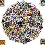Q-Window Paquete de Pegatinas Serie de Calaveras (100 pcs). Calcomanías Vinilo para Laptop, Coche, Moto, Monopatín, Bicicleta, Equipaje, iPhone. Stickers Graffiti- Impermeable