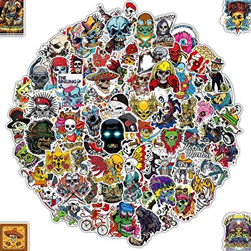 Q-Window Aufkleber Pack Graffiti Decal Vinyl Sticker für Laptop, Koffer, Skateboard, Auto, Motorrad, Snowboard, IPhone, Nintendo Bomb Aufkleber Stickers Wasserdicht (100 Schädel-Aufkleber)