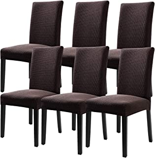 Fuloon Super Fit Stretch Jacquard Removable Washable Short Dining Chair Covers Seat Slipcover for Hotel,Dining Room,Ceremony,Banquet Wedding Party (6, CB)