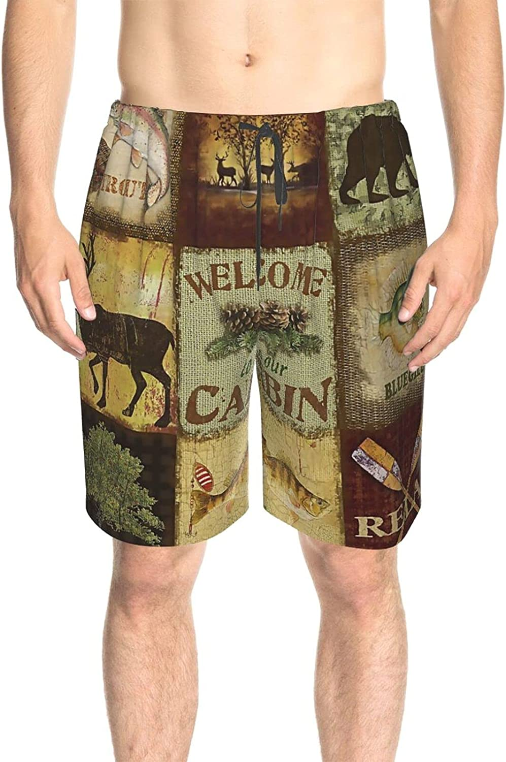Mens Swim Trunks Bear Nature Cabin Forests Swim Boardshorts Quick Dry Comfy Beach Swim Trunk with Mesh Lining