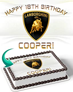 Lamborghini Sport Car Themed Personalised Birthday Edible Cake /& Cupcake topper