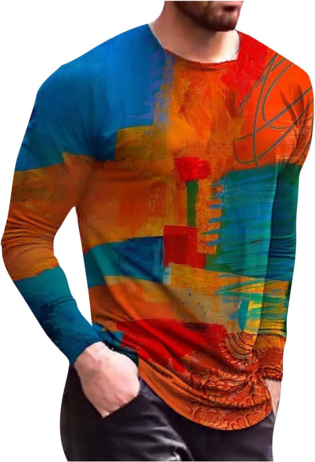 Men Casual Long Sleeve Shirts Vintage Printed Crewneck Shirts Fashion Slim Fit Shirts Tops for Spring and Autumn