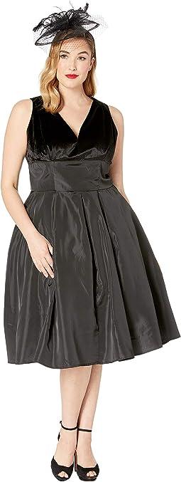 Plus Size 1950s Style Velvet & Taffeta Evie Swing Dress
