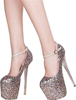 da00aacfdcc5 Plus:34-41 42 43 Crossdresser Nightclub Sexy 19cm High-Heeled Paillette  Shoes