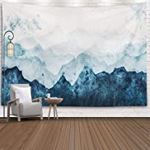 EMMTEEY Tapestries,Tapestries Décor Living Room Bedroom for Home Inhouse by Printed 60X50 Inches Blue Mountains Silhouette Fading in Distance Perspective Watercolor Painting on Paper,Grey White