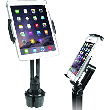 "Macally Heavy Duty Tablet Holder for Car - Works as Cup Holder Tablet Mount or Phone Cup Holder - Fits Devices 3.5"" - 8"" Wide with Case - Adjustable iPad Car Mount with 360° Rotatable Cradle"