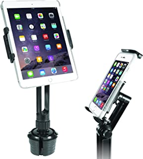 "Macally 2-in-1 Heavy-Duty Car Cup Holder Mount - Works with Tablets and Phones - Apple Ipad Pro 10.5 9.7 Air Mini, Samsung Galaxy Tab, iPhone Xs Max XR X Any Mobile Device Up to 8"" Wide (MCUPPRO)"