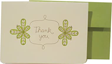 product image for Letterpress Thank You Note, Green Floral, Matching Envelope, Single Card