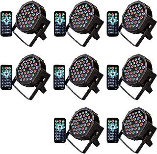 Kebert Par Lights, 36 Led DJ Stage Lights with Remote Control Compatible with DMX, 1W RGB Sound Activated Stage Light, 9 Modes Par flood lights for Wedding Bar Party DJ Show -8 Pack