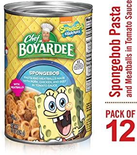 Chef Boyardee SpongeBob Pasta and Meatballs Made with Pork, Chicken, and Beef in Tomato Sauce, 15 Ounce (Pack of 12)