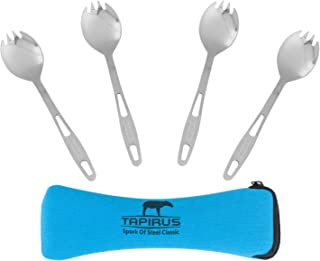 Tapirus Stainless Steel Camp Sporks Set of 4 - Save Space When Camping,  Hiking or Backpacking - Heavy Duty Fire Proof Metal Tool - Long Handled,  Reusable and Extra Light for Travel - with Case
