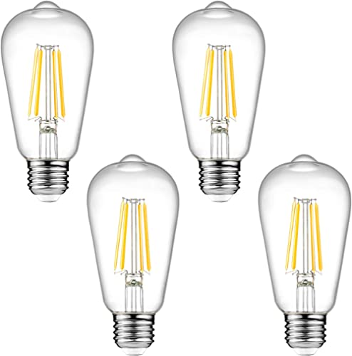 Dimmable Ascher Vintage LED Edison Bulbs, 6W, Equivalent 60W, 700 Lumens, Warm White 2700K, ST58 Antique LED Filament...