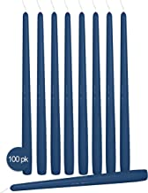 Ner Mitzvah 100 Pack Tall Taper Candles - 10 Inch Midnight Blue Dripless, Unscented Dinner Candle - Paraffin Wax with Cott...