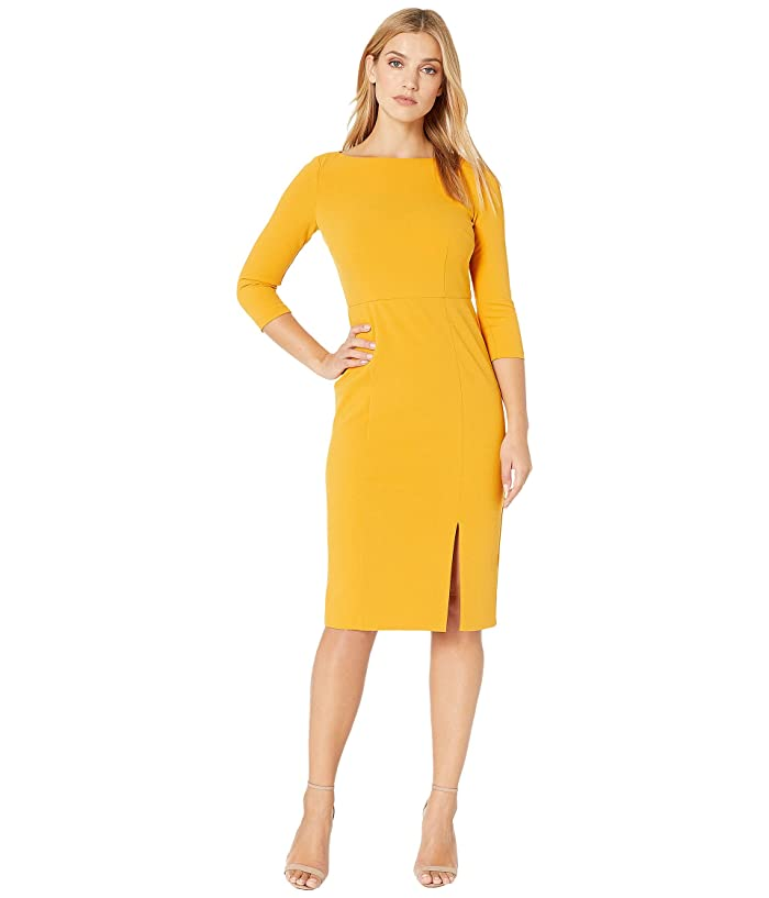 Donna Morgan  Boat Neck 3/4 Sleeve Side Slit Crepe Dress (Butternut) Womens Dress
