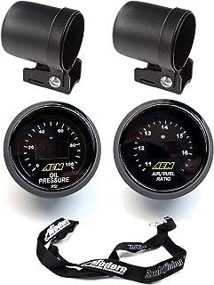 AEM 2 Gauge Kit 52mm Oil Pressure & UEGO WideBand Air Fuel Ratio w/Auto Meter Mounting Cup & Lanyard