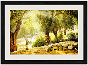 Sunshine Tree - Art Print Wall Black Wood Grain Framed Picture(20x14inches)