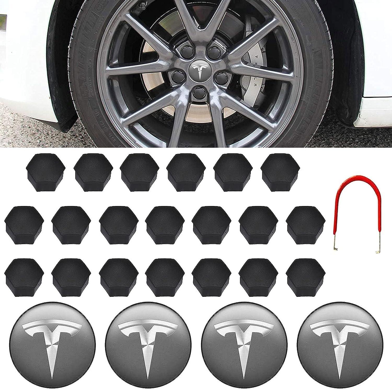 Kit de Tapa de Tuerca de Rueda para Modelo 3 Modelo S Modelo Y, con 4 Tapas Centrales para Bujes de Rueda, 20 Tapas para Tornillos de Rueda, 1 Extractor (Gris Oscuro y Plateado)