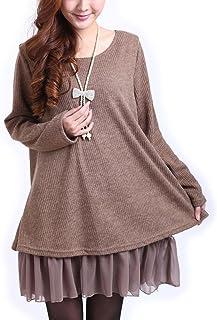 9e54e7de62f Landove Robe en Tricot Femme Sweater Lâce Pull Manche Longue Haut Automne  Hiver Tunique Grande Taille