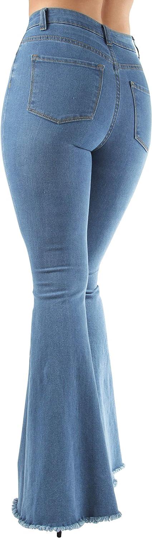 Fashion2Love Women's Juniors/Plus Size Bell Bottom High Waist Flared Bootleg Ripped Jeans