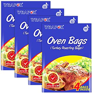 WRAPOK 16 Bags Oven Cooking Turkey Bags Large Size Ribs Baking Roasting Bags No Mess For Chicken Meat Ham Poultry Fish Seafood Vegetable(17 x 21.5 Inch)
