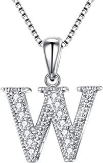 Initial Letter Necklace 925 Sterling Silver Cubic Zirconia Alphabet A-Z 26 Letters Pendant Necklace