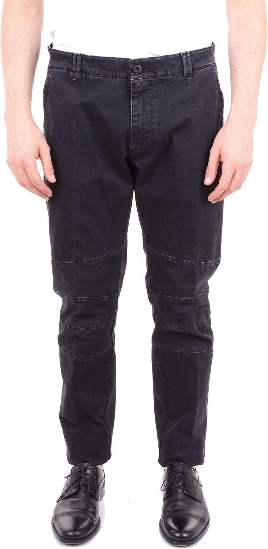 MESSAGERIE Men's 004462T08981BLACK Black Cotton Pants