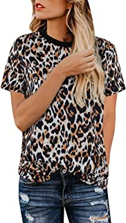 Women's Summer Casual Top, Sharemen O Collar Leopard Print Short-Sleeved Shirt Shirt Top