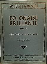 Wieniawski Henryk Polonaise Brillante Op. 21. For Violin and Piano. by Francescatti. International