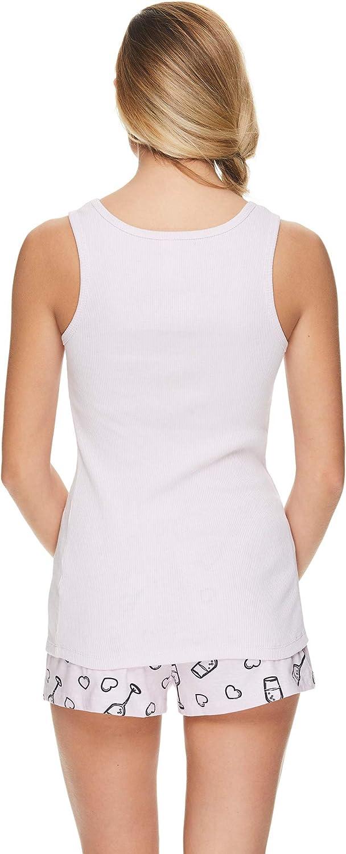 Sleep & Co. Womens Pajama Sets Printed Tank Top and Shorts Sleepwear Size M-L