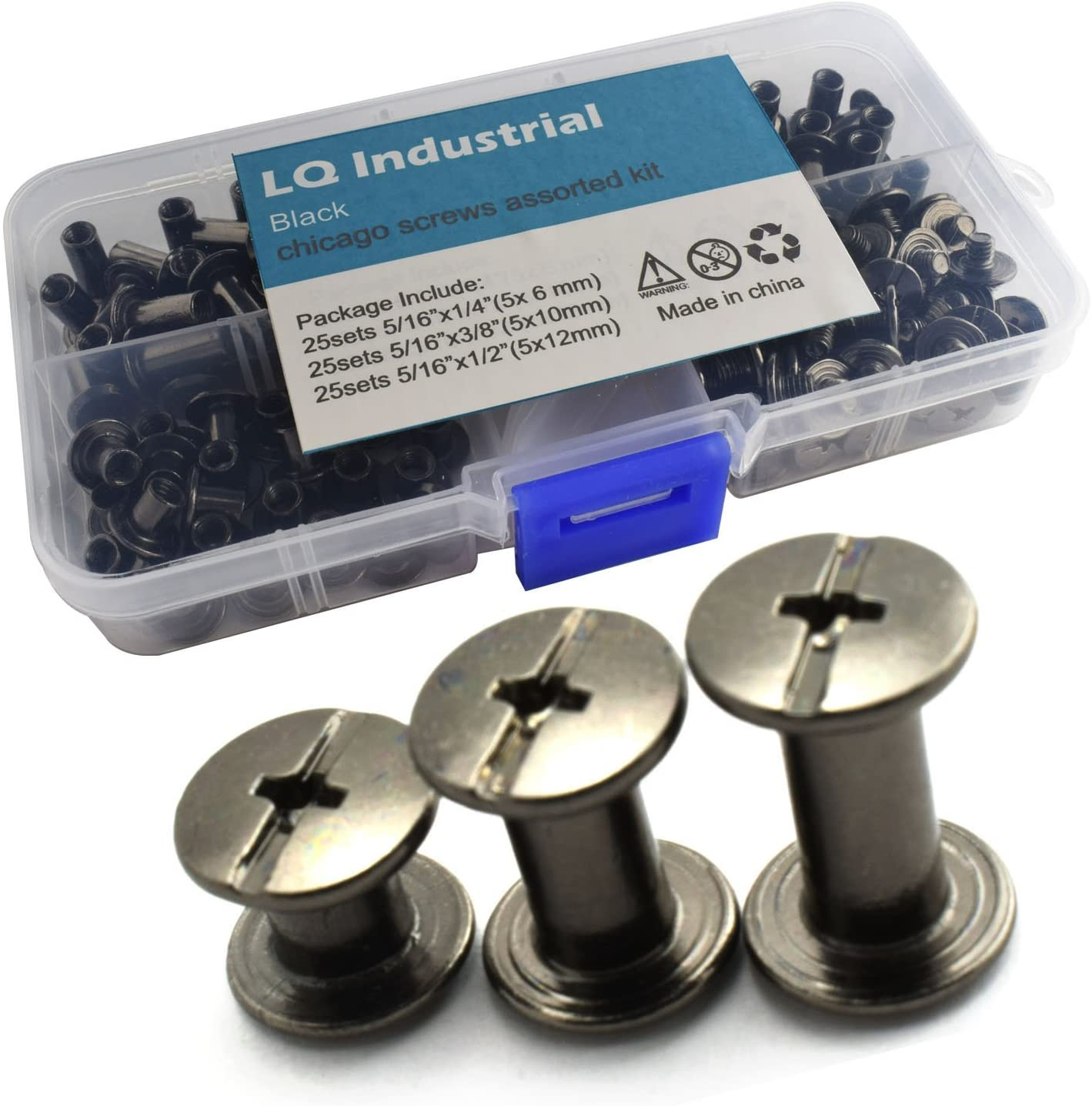 LQ Industrial 75 Sets Black M5 Chicago Screw Assorted Kit Slotted Phillip Head Binding Screws Rivet Assembly Bolt Nail Rivet for Book Binding DIY Leather Craft M5x6 M5x10 M5x12 : Arts, Crafts & Sewing