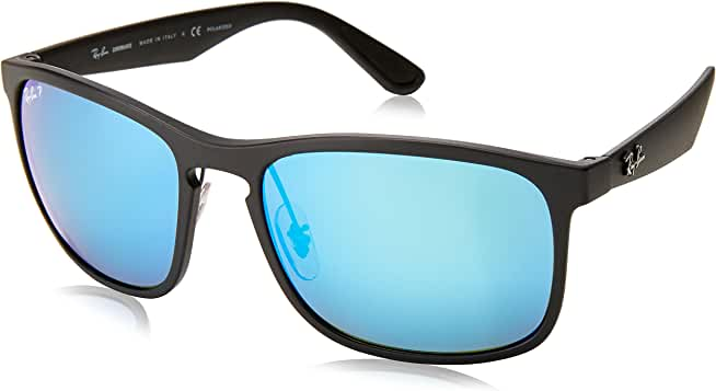 Ray-Ban Polarized Chromance Black Square Sunglasses (Matte Black/Polarized Blue Mirror)
