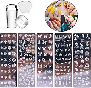 5 Pcs Nail Stamp Template Kit with 1 Stamper 1 Scraper Nail Stamping Plates for Nail Art Flower Leaf Butterflies Snowflake...