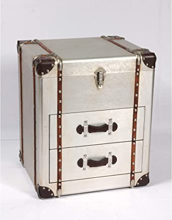 Duchess Accent Trunk in Sterling Silver with Aluminum Finish And Steamer Style Hardware, by Artum Hill