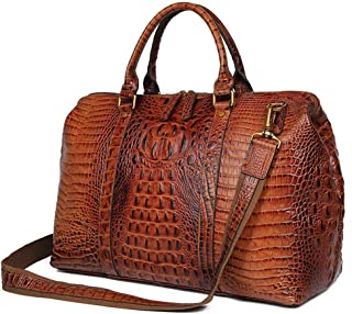 Luggage Bag Crocodile Pattern Cowhide Bag Oily Texture Large Handbag for Men and Women (Color : Brown, Size : L)