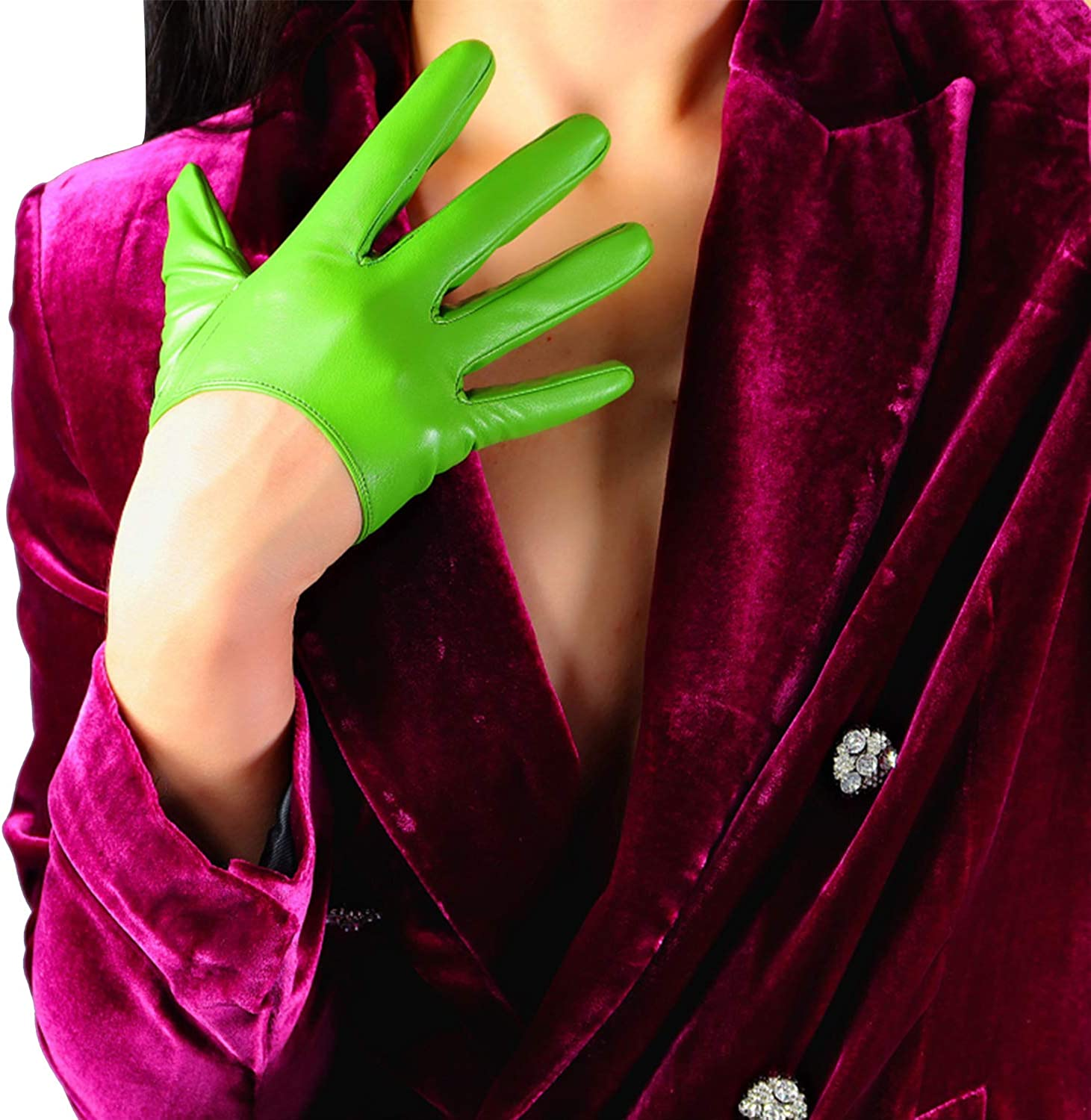 DooWay Fashion Avocado Leather Gloves for Women Spring Evening Dressy Costume