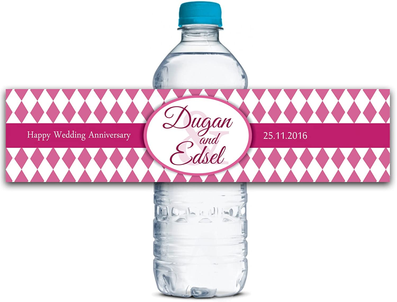 Kundenspezifische Jahrestags-Wasser-Flasche Etiketten Selbstklebende wasserdichte kundenspezifische Hochzeits-Aufkleber 8  x 2  Zoll - 50 Etiketten B01A0W3G9E  | Exquisite (in) Verarbeitung
