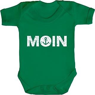 ShirtStreet Norddeutsch Hanseat Strampler Bio Baumwoll Baby Body kurzarm Jungen Mädchen Moin Anker