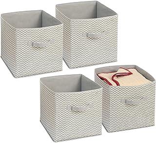 mDesign boîte de rangement en tissu – grand panier de rangement idéal pour jouets, vêtements ou draps – lot de 4 – bac de ...